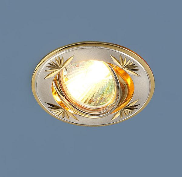 5d06a8e3f53b53efd0014010524dcb39 600x583 - встр. точечный светильник Elektrostandard 104A сатинированное серебро/золото
