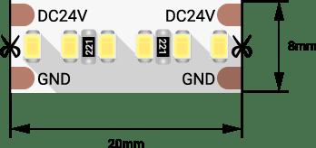 03ee8321bdd1fec382a9a0d2b0ed8132 - Лента светодиодная LUX, 2216, 300 LED/м, 20 Вт/м, 24В, IP33, Теп.белый (3000K)