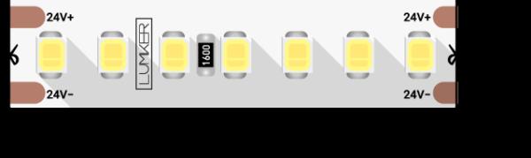 30726b39717a112d3858920976826921 600x179 - Лента светодиодная LUMKER, 2835, 168 LED/м, 17 Вт/м, 24В, IP33, Теп.белый (3000K)