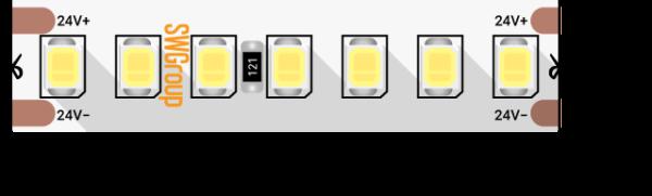 3f18fd8f775ec4cdba816a462bdf361e 600x181 - Лента светодиодная ПРО 2835, 168 LED/м, 17,3 Вт/м, 24В , IP20, Цвет: хол. белый