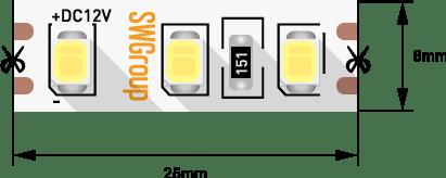 50d546dff13bf97b210406948ddfb060 - Лента светодиодная стандарт 2835, 120 LED/м, 9,6 Вт/м, 12В , IP20, Цвет: Теп.белый