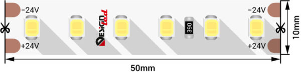 7aa7ee33549c7e50ed85fe1d5f54d2c1 600x147 - Лента светодиодная LUX, 2835, 120 LED/м, 14,4 Вт/м, 24В, IP33, Теп.белый (2700K)