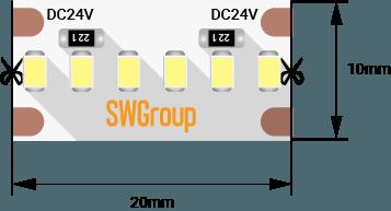 7da3136d31a55cfca819ae059ffe60a0 - Лента светодиодная стандарт 2216, 300 LED/м, 19,4 Вт/м, 24В , IP20, Цвет: хол. белый
