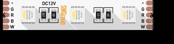 9945afaf63750cf65b433c0143183c9a 600x154 - Лента светодиодная стандарт 5050, 60 LED/м, 19,2 Вт/м, 12В , IP20, Цвет: RGB+нейтральный белый