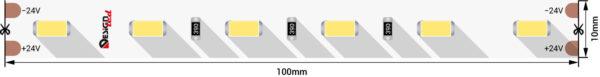 c3e3f4a86cceb2539d99721e3c03b8c6 600x77 - Лента светодиодная LUX, 5730, 60 LED/м, 14,4 Вт/м, 24В, IP33, хол. белый (6500K)