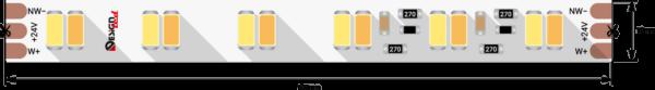 ce2e69fbdb9b03665ff48ceb93cff8d3 600x83 - Лента светодиодная LUX, 5730, 120 LED/м, 26,8 Вт/м, 24В, IP33, Теп.белый+хол. белый (2700-6000K)