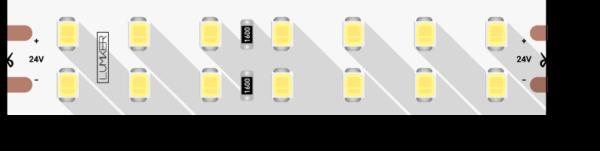 dbb9a530ea6f4a9d3e666be18a1c4df4 600x151 - Лента светодиодная LUMKER, 2835, 196 LED/м, 18 Вт/м, 24В, IP33, Теп.белый (3000K)
