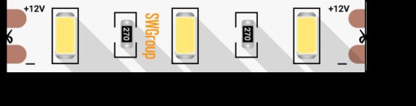 fd9ac76605817b2bc74e92b7435c7630 600x154 - Лента светодиодная стандарт 5630, 60 LED/м, 12 Вт/м, 12В , IP20, Цвет: хол. белый